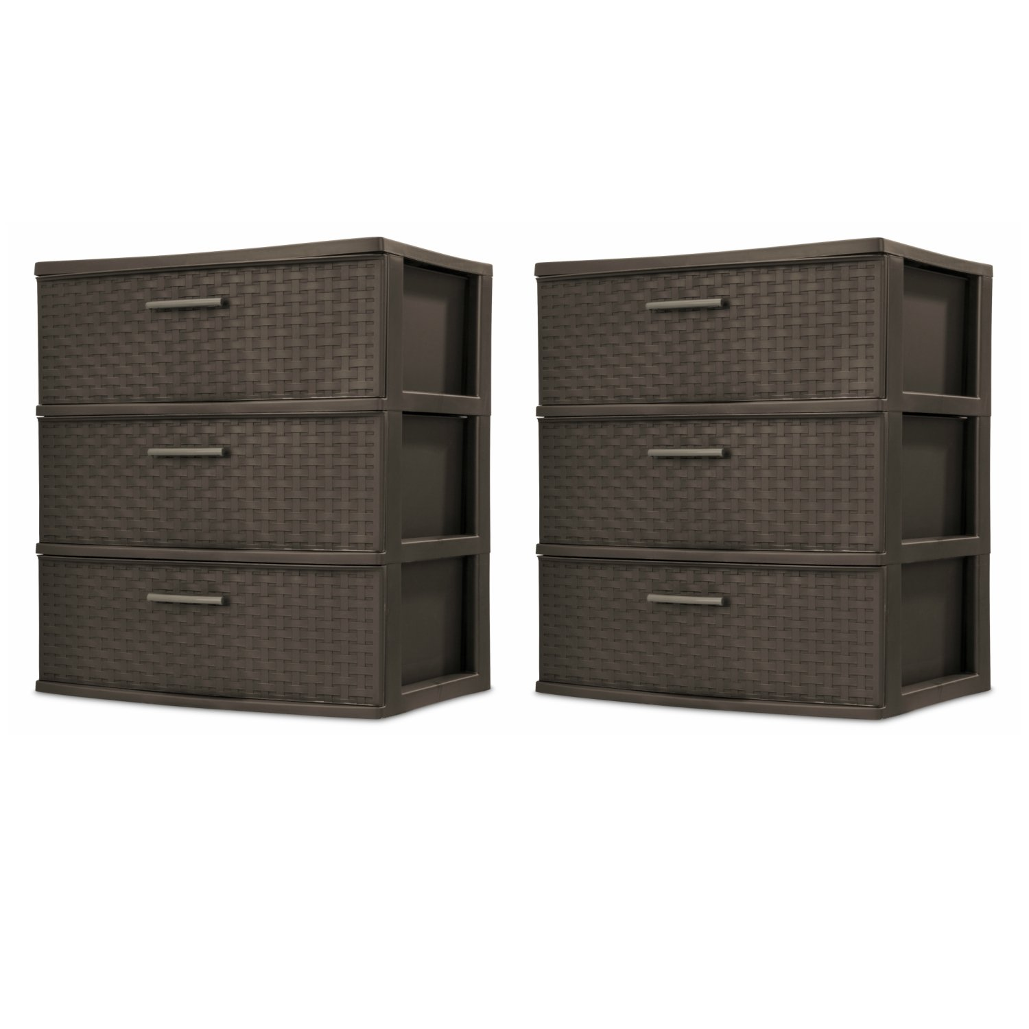 Sterilite 25306P01 3 Drawer Wide Weave Tower, Espresso Frame & Drawers w/ Driftwood Handles, 2-Pack