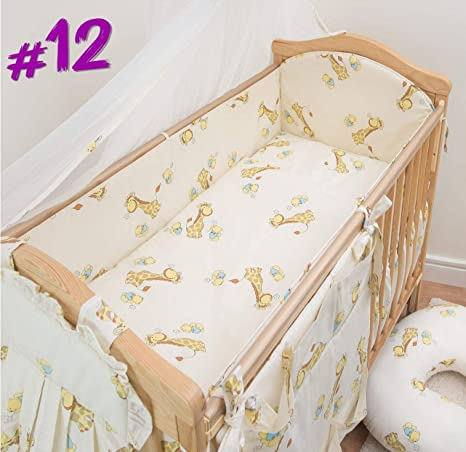 6 Piece Nursery Bedding Set with Bumper to fit 140x70 cm Cot Bed Plain Cream