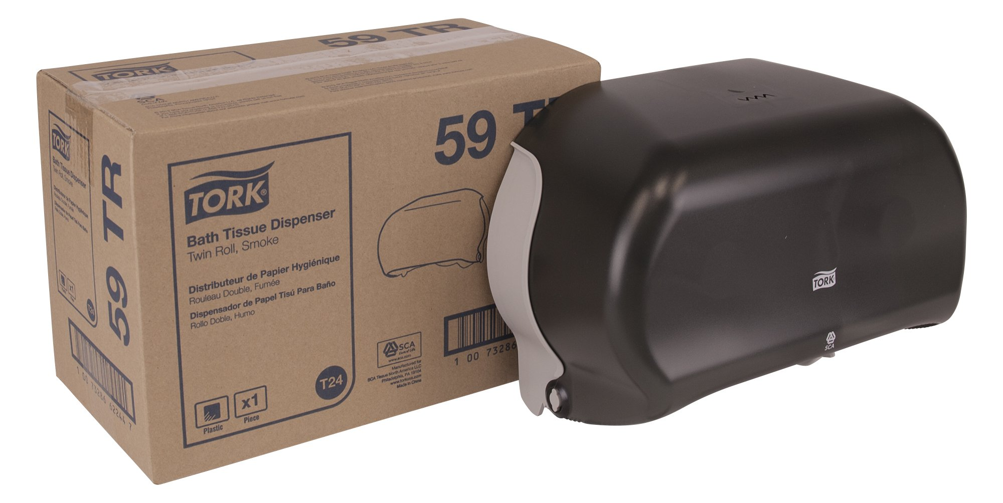 Tork 59TR Twin Bath Tissue Roll Dispenser, Plastic, 8.25'' Height x 12.75'' Width x 5.57'' Depth, Smoke (Case of 1) for use with Tork TM6511S, TM6512, TM6120S, TM6130S, TM1602