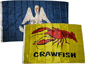 AES 3x5 3'x5' Wholesale Combo Set State Louisiana & Crawfish Seafood 2 Flags Flag Banner Brass Grommets House Banner Brass Grommets Fade Resistant Double Stitched Premium Quality