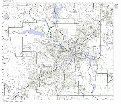 Amazon Com Pulaski County Arkansas Ar Zip Code Map Not Laminated