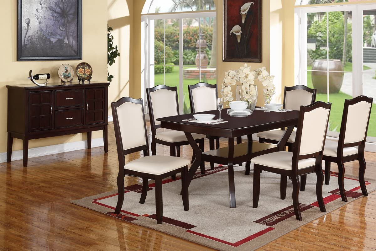 Amazon Com Poundex Rectangular Espresso Modern Wood Dining Table Brown Table Chair Sets