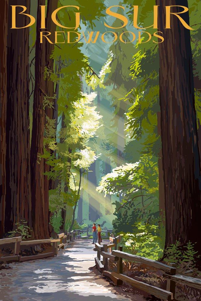 ファッションの Big x Sur, - California - Print Pathway and Hikers (24x36 Giclee Gallery Print, Wall Decor Travel Poster) by Lantern Press B00N5CFU9Q 9 x 12 Art Print 9 x 12 Art Print, 布屋ムラカミ:612d4ba4 --- afisc.net