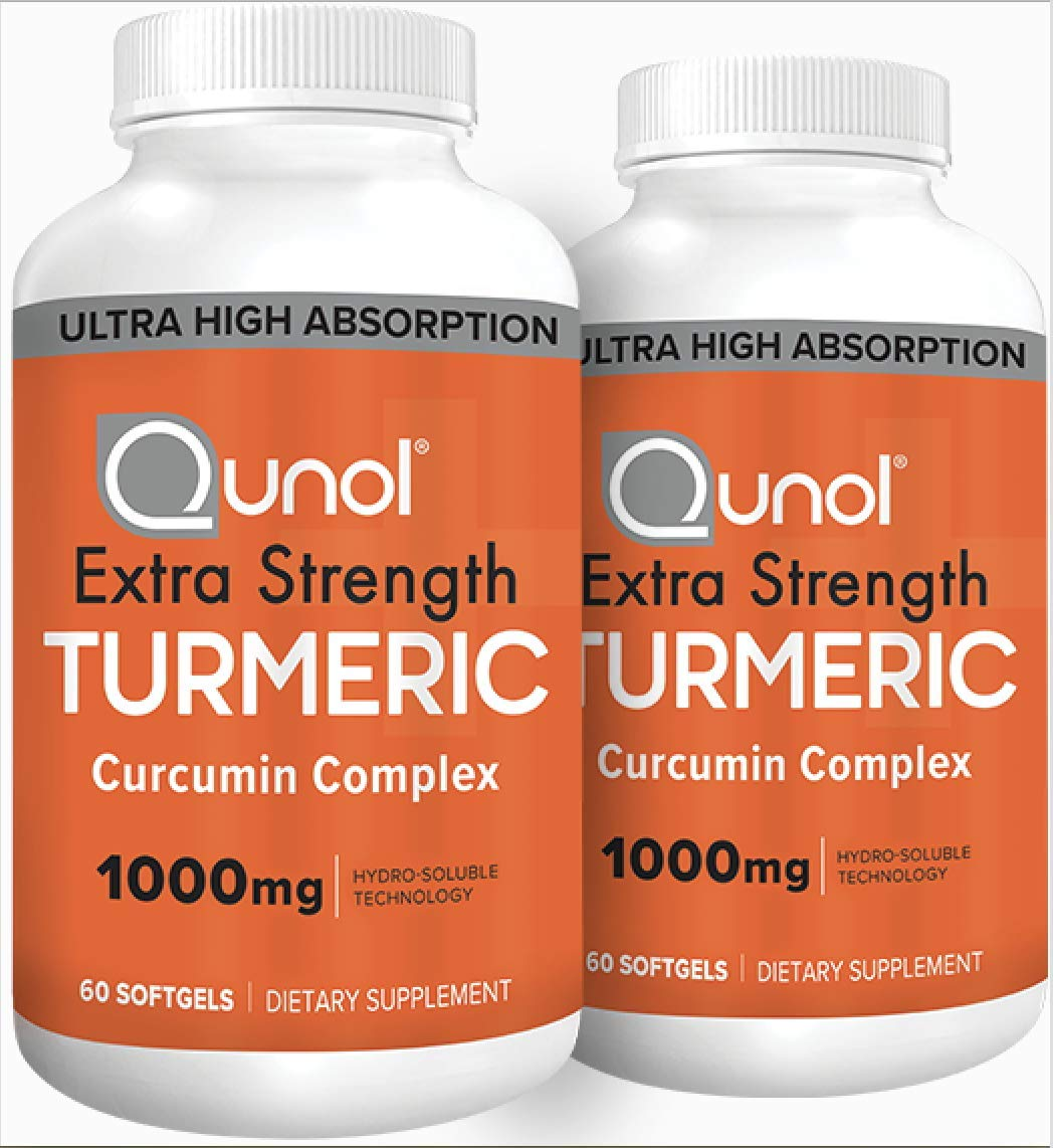 Qunol Turmeric Curcumin Softgels, Qunol with Ultra High Absorption 1000mg, Anti-Inflammatory, Dietary Supplement, Extra Strength, 120 Count