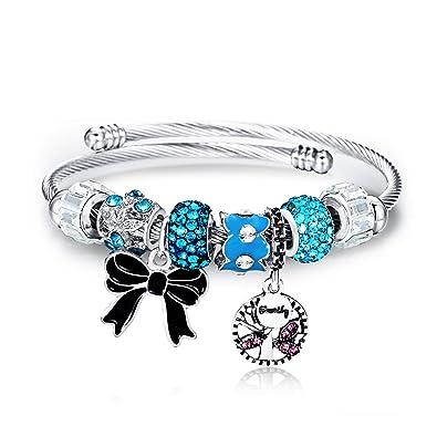 dd6928364 Lateefah Bracelet for Teen Girls - Beaded Bangle Charm Bracelets for Women  Stainless Steel Butterfly Pendant