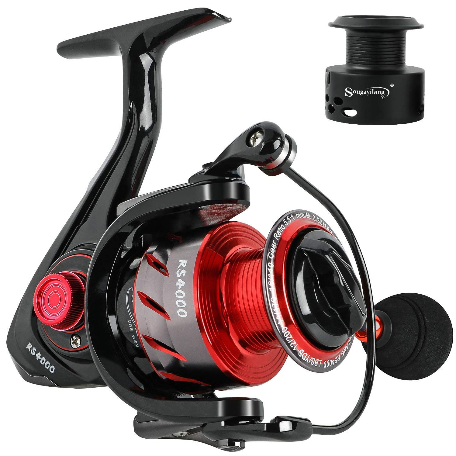 Sougayilang Spinning Reels Fishing Reel with 13 1 Corrosion Resistant Ball Bearings, W-Ship Gearing, Silent Drive, SXS Braking System and Free Spare Graphite Spool for Anglers