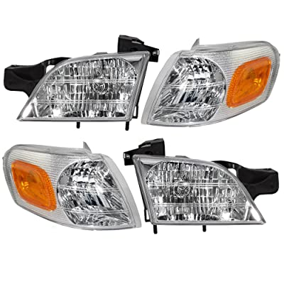 Aftermarket Replacement 4 Pc Set Headlights with Signal Side Marker Lamps Compatible with 1997-2005 Venture: Automotive