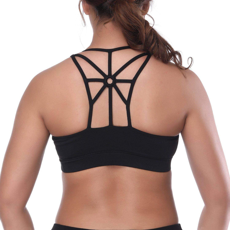 1a45f0f5cd YOKGO Women s Sports Bra Racerback Criss Cross Strap Padded High Impact Yoga  Running Bra at Amazon Women s Clothing store