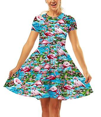 Ericcay Falda Plisada Mujer Verano Moda Corto Elegantes Vestido ...