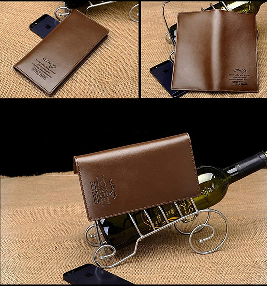 Leather Wallet Mens Long Fashion Large Capacity Wallet Business Cell Phone Purse Khaki
