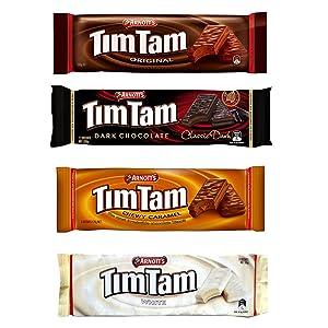 Tim Tam Cookies Arnotts | Australian Classics Sampler (Original, Chewy Caramel, White, Dark) | 4 Pack Full Size
