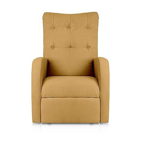 SuenosZzz - Sillon Relax reclinable Soft tapizado Tela Antimanchas Color Mostaza | Sillon reclinable butaca Relax | Sillon orejero Individual Salon ...