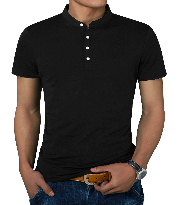 IWOLLENCE Men's Casual Slim Fit Short Sleeve Henley T-Shirts Cotton Shirts Black-US M