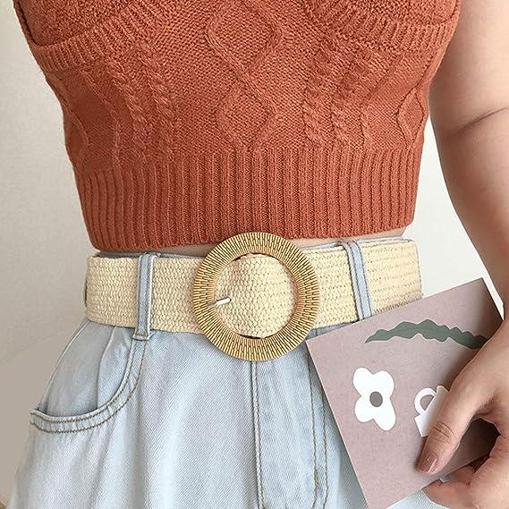BeltKings Ceinture pour femmes ceinture large en paille ceinture /à boucle ronde robe tiss/ée /élastique ceinture d/écorative