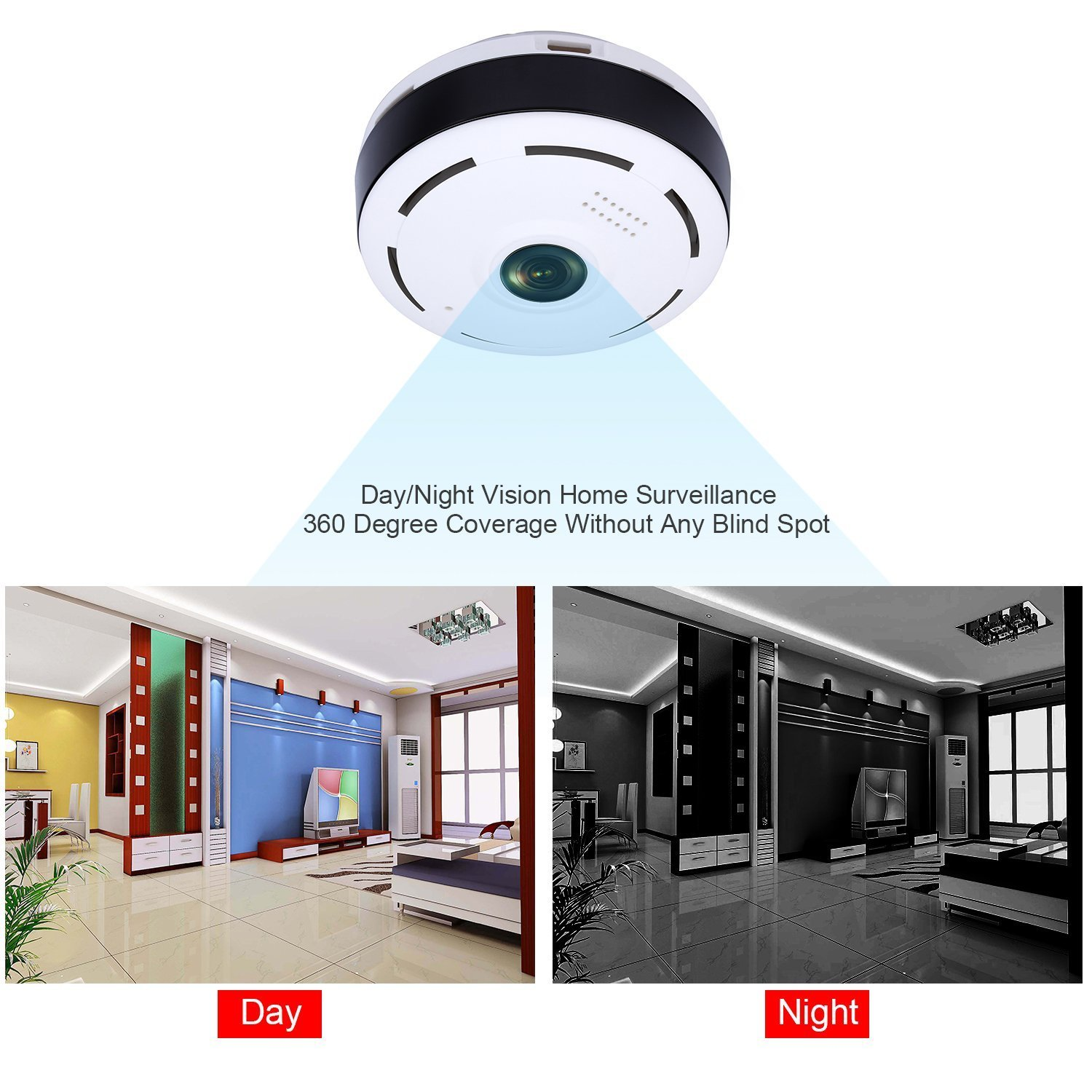 Smart WiFi Home Security Camera,360 Degree Panoramic Camera with IR Night Vision/2-Way Audio/Motion Detection,Welcome Download APP to Check More Function by TK-STAR (Image #2)