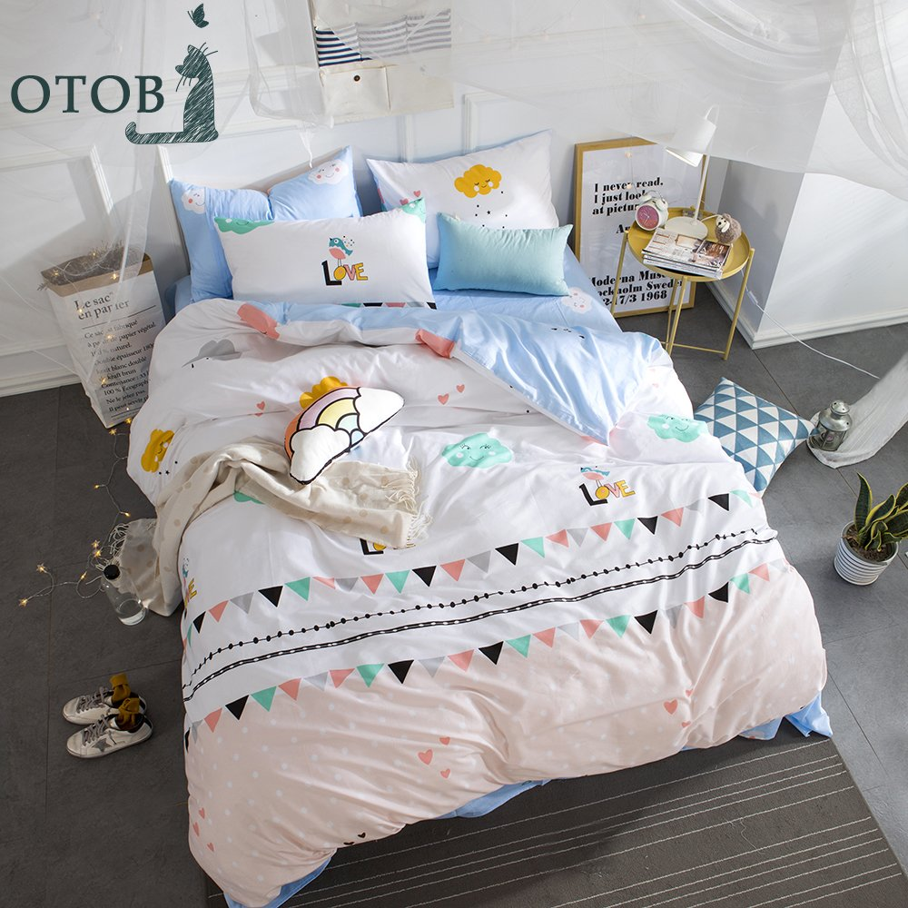 (Full/Queen (1 Duvet Cover + 2 Pillowcases), Style 3) ORoa Cartoon Cloud Cotton Full/Queen Duvet Cover Set for Adult with Hidden Zipper Closure 4 Corner Ties-Soft,Durable,Fade Resistant, Polka Dot and Triangle Print Pink Blue B076KF17WP Full/Queen (1 Duvet Cover + 2 Pillowcases)|スタイル3 スタイル3 Full/Queen (1 Duvet Cover + 2 Pillowcases)