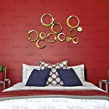 3D DeCor Acrylic Mirror wall stickers - RinGs 12 GolDen - 3D Acrylic Sticker 3D Mirror 3D Acrylic Wall sticker 3D Acrylic stickers for wall 3D Acrylic Mirror stickers 3D Acrylic mural for Drawing room living room bedroom kids room home & offices