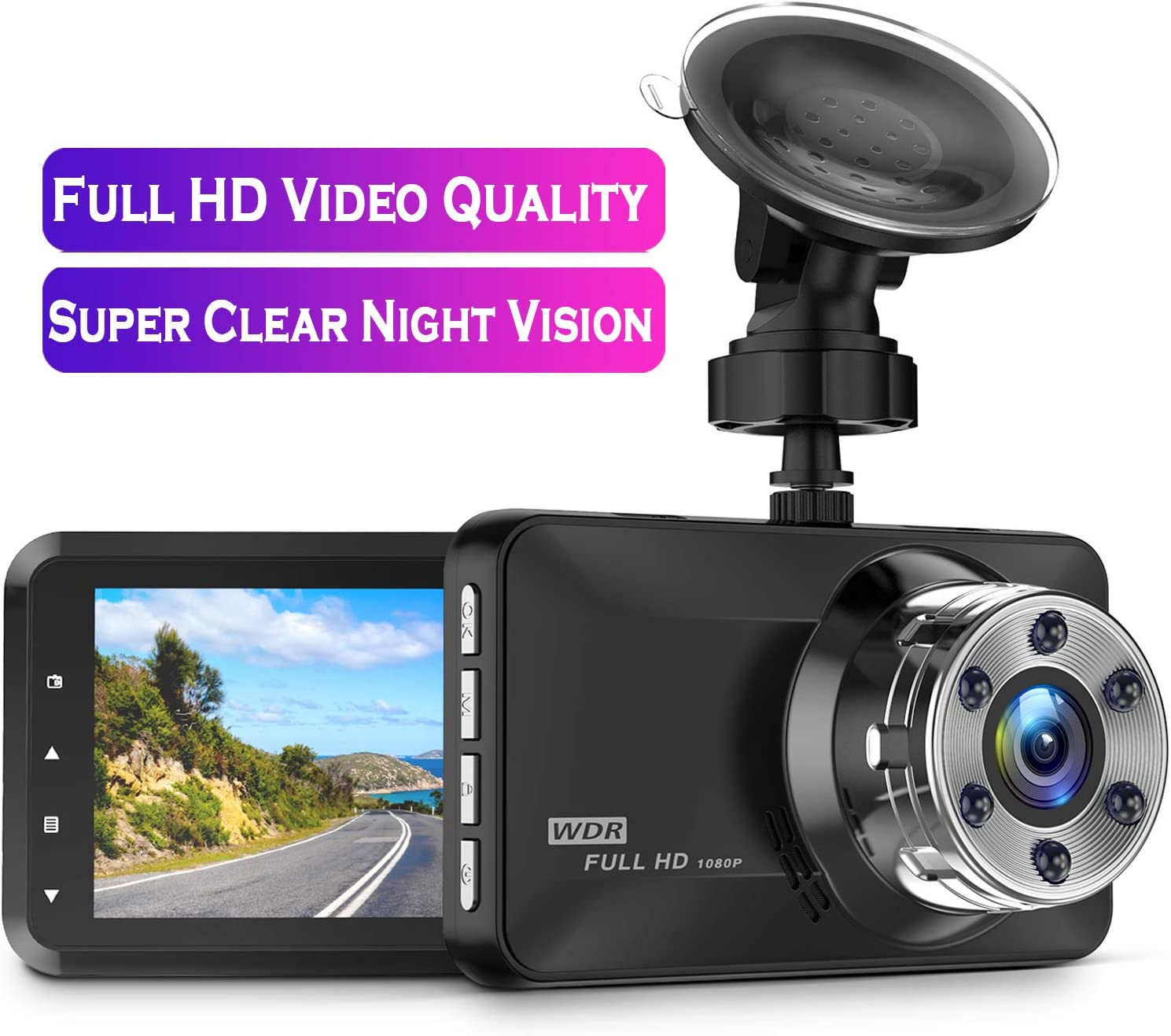 Dash Cam, Amuoc 1080P FHD DVR Car Driving Recorder 3 Inch LCD Screen 170° Wide Angle, G-Sensor, WDR, Parking Monitor, Loop Recording, Motion Detection