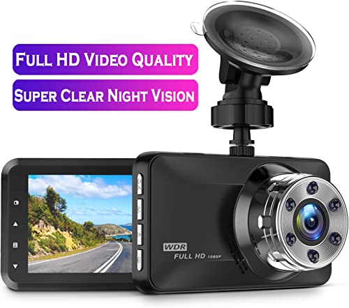 Dash Cam, Amuoc 1080P FHD DVR Car Driving Recorder 3 Inch LCD Screen 170 Wide Angle, G-Sensor, WDR, Parking Monitor, Loop Recording, Motion Detection