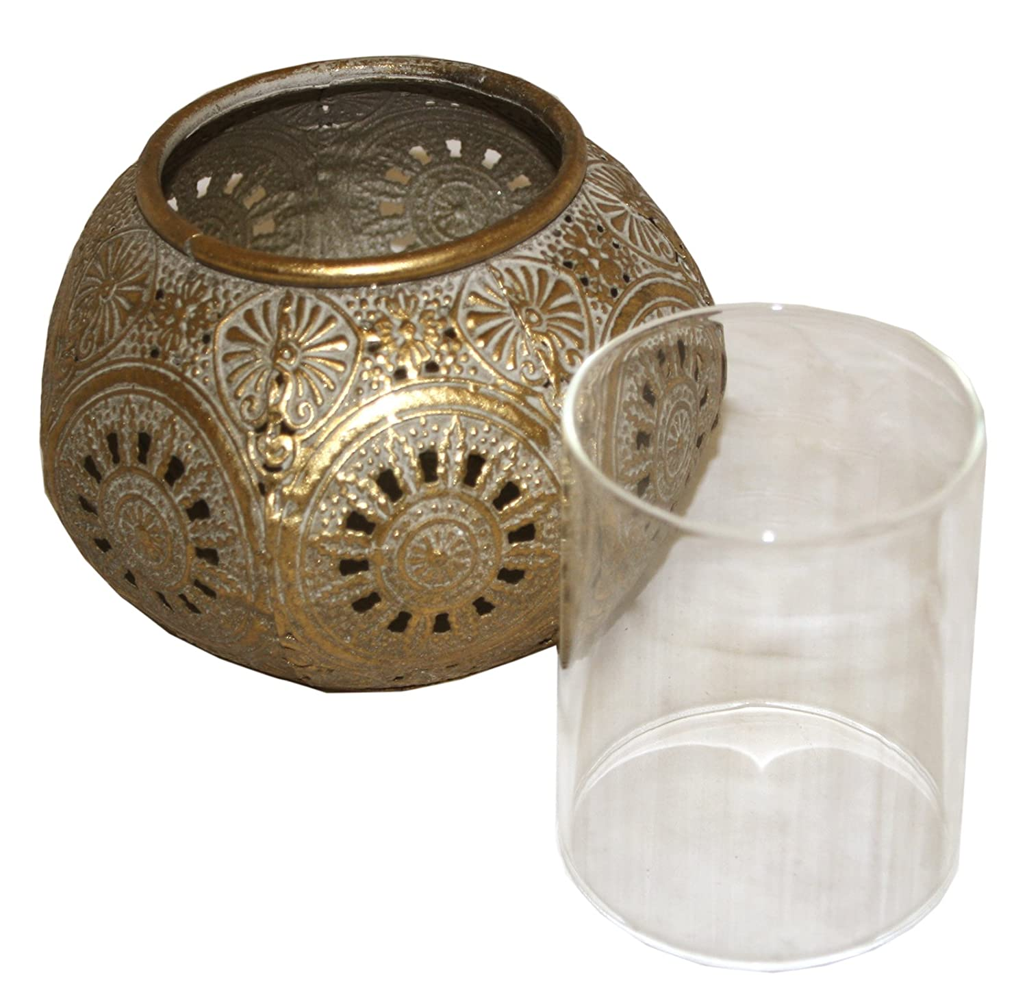 f0bd88d353 marymarygardens Distressed Gold Coloured Metal Moroccan Style Tea Light  Holder with Glass Breeze Guard: Amazon.co.uk: Kitchen & Home