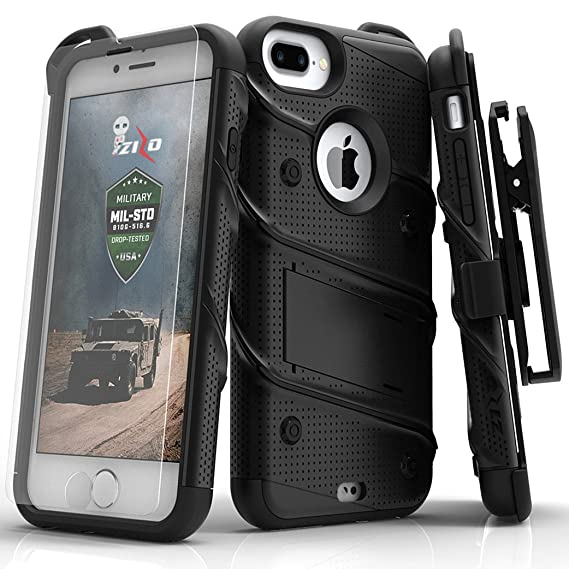 free shipping ab370 a2c7b iPhone 8 Plus Case / iPhone 7 Plus Case - Zizo [Bolt Series] w/[iPhone 8  Plus Screen Protector ] Kickstand [Military Grade Drop Tested] Holster Clip