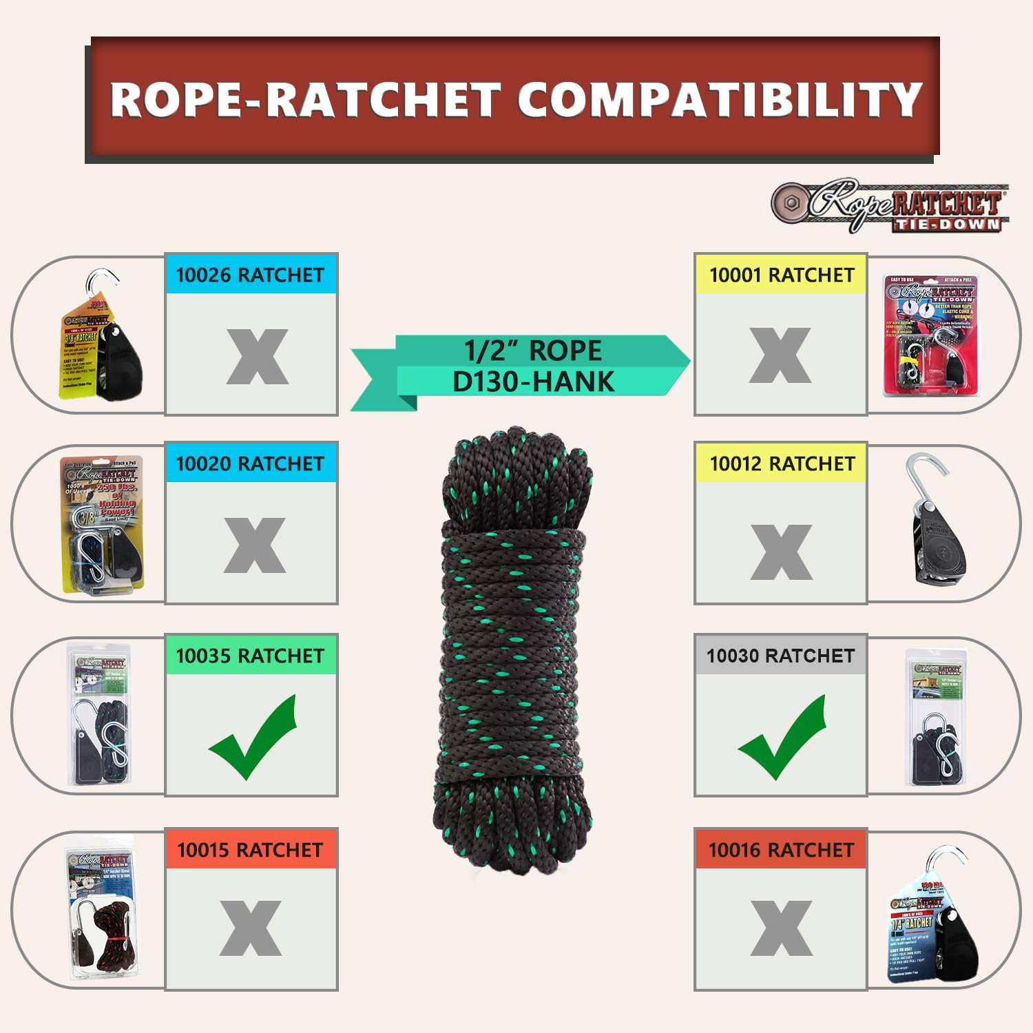 - Black Sold in 50 Foot Hanks Lengths Rope Ratchet 3//16 Long Solid Braid Polyester Rope