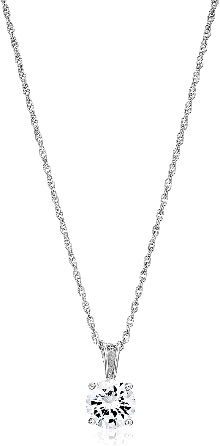 """Amazon Essentials Plated Sterling Silver Cubic Zirconia Round Cut Solitaire Pendant Necklace, 18"""""""