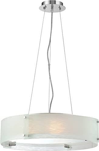 Lite Source LS-19420C FRO Pendant with Frosted Glass Shades, Chrome Finish