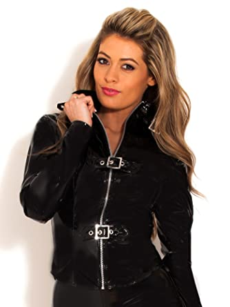 a9f38e6ffc Honour Women s Sexy Shirt in PVC Black Top with Zipped Up Buckle  Amazon.co. uk  Clothing