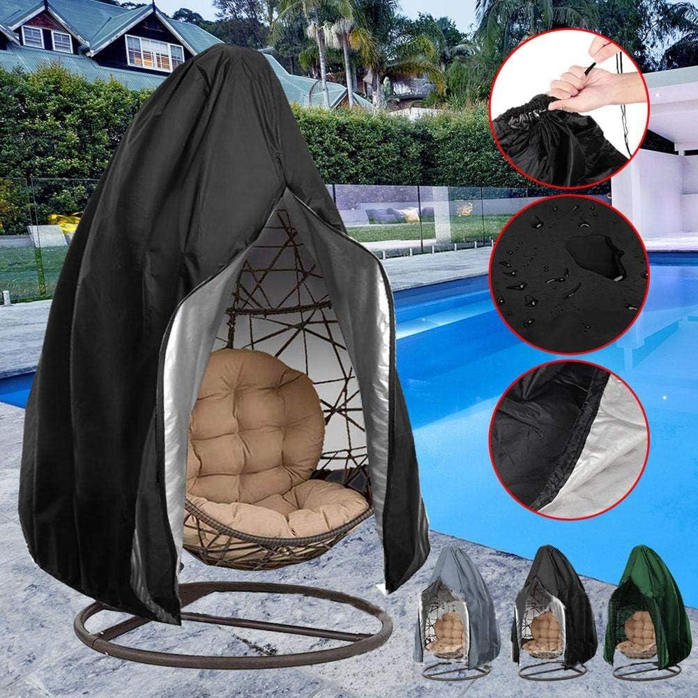 individual 190,5 x 114,3 cm tela Oxford 210D para jard/ín silla de huevo cubierta protectora con cordones CHEYLIZI Funda para silla colgante de patio impermeable color negro 115 x 190 cm
