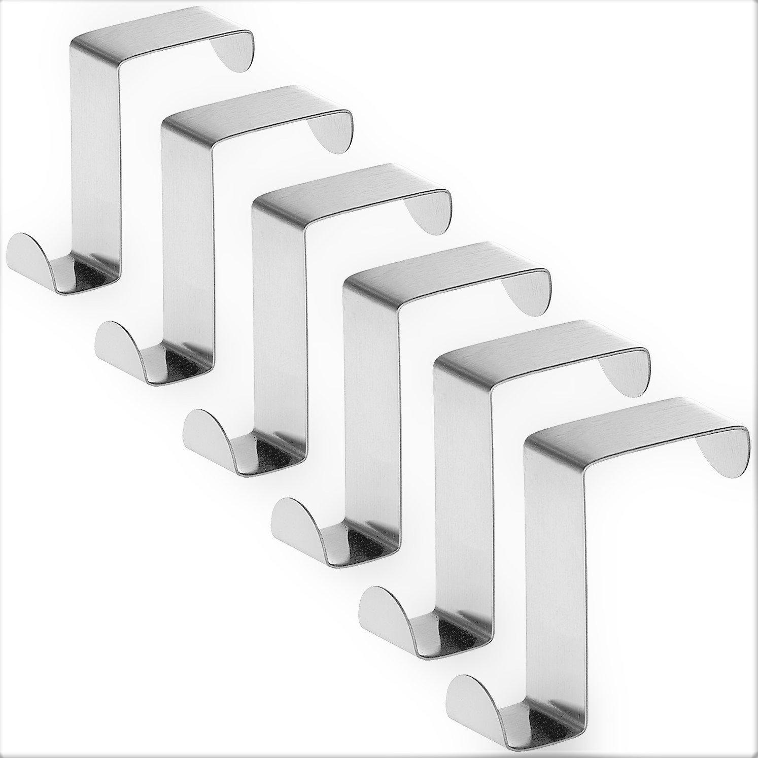 Tatkraft Seger Set of 6 Over the Door Hooks, Reversible Z Hooks for Over the Door or Cupboard Door, Towel Holders, Hold up to 11Lbs (5 kg), Stainless Steel