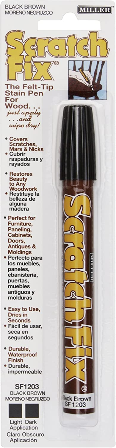 Miller SF1203 Wood Stain Scratch Fix Pen / Wood Repair Marker - Black Brown Wood