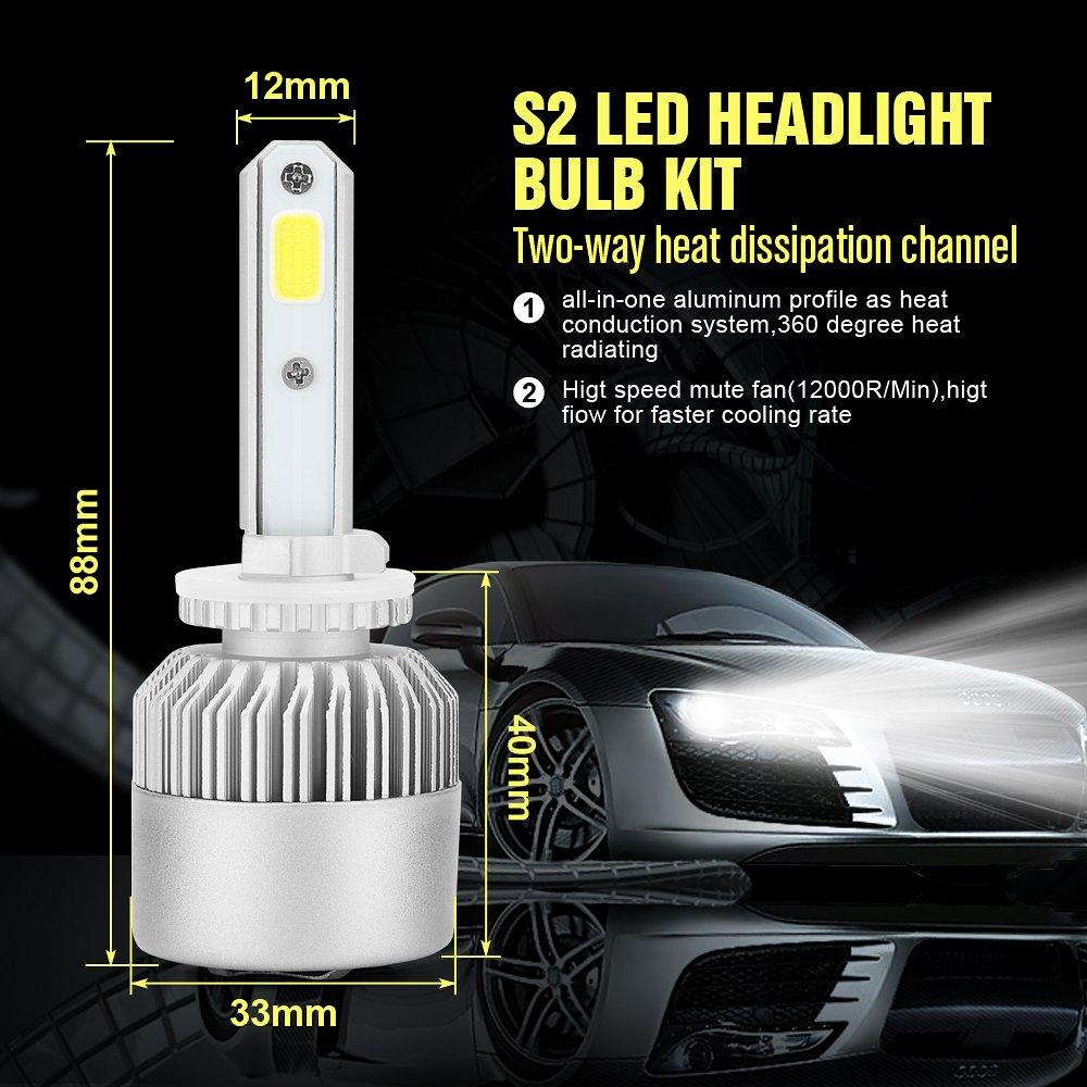 KaTur LED Headlight Bulbs Conversion Kit 9007//HB5 3 Yr Warranty 72W 6500K White 9000Lumens IP68 Waterproof Extremely Bright Bridgelux Philips COB LED Chips Headlight Conversion Kit