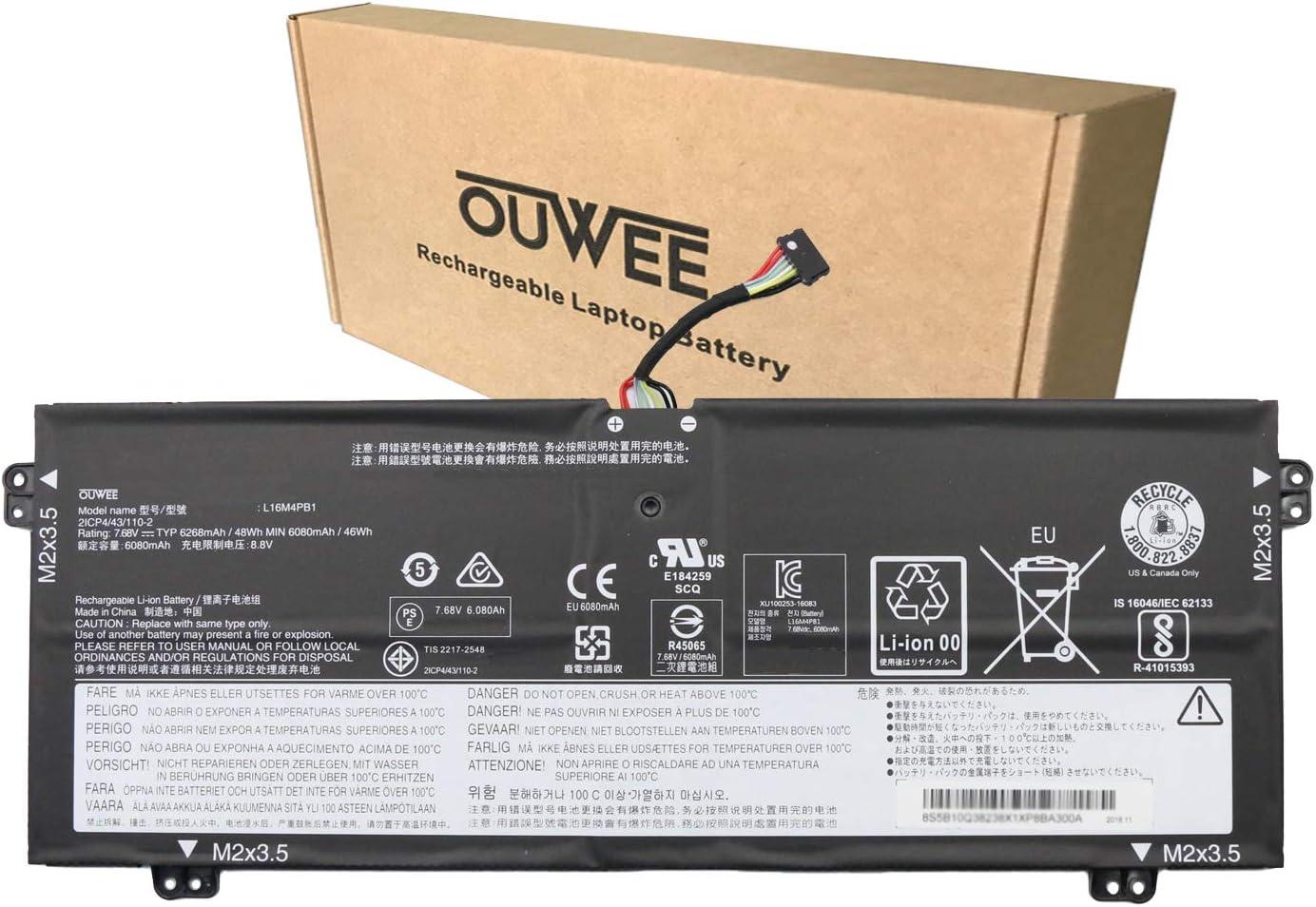 OUWEE L16M4PB1 Laptop Battery Compatible With Lenovo Yoga 730-13IWL ideapad Yoga 720-13IKB 730-13IKB Series Notebook L16L4PB1 5B10M52738 L16C4PB1 5B10M52739 5B10M52740 5B10Q38237 5B10Q38238 7.68V 48Wh