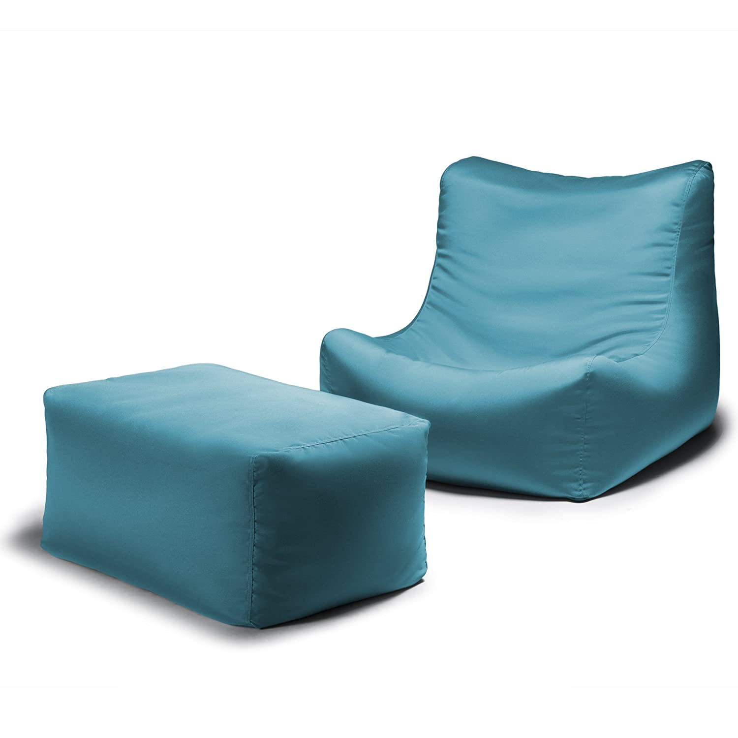 Merveilleux Amazon.com : Jaxx Ponce Outdoor Bean Bag Lounge Chair U0026 Leon Ottoman,  Lagoon : Garden U0026 Outdoor