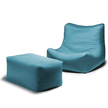 Jaxx Ponce Outdoor Bean Bag Lounge Chair Leon Ottoman Lagoon