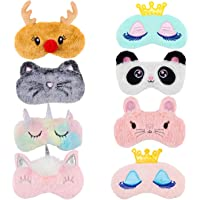 Biubee 8 Pack Cute Animal Sleep Mask- Lovely Animal Sleeping Mask Soft Plush Blindfold Eyeshade Rabbit Panda Koala Elk…