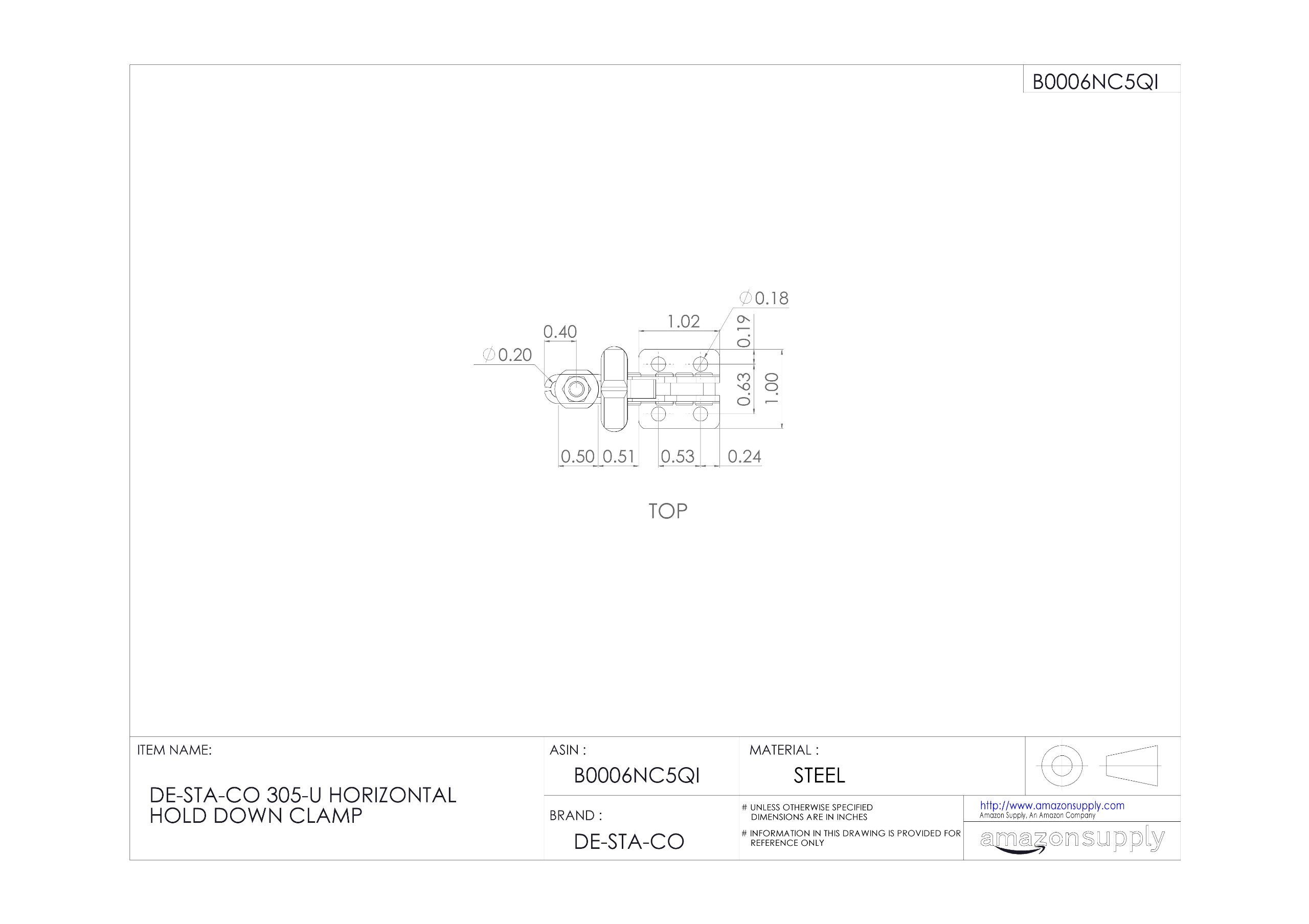 DE-STA-CO 305-U Horizontal Hold Down Clamp