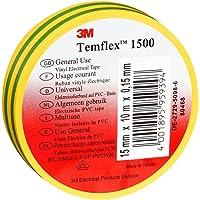 3M TGG1525 Temflex 1500 vinyl elektrische isolatietape, 15 mm x 25 m, 0,15 mm, geel/groen