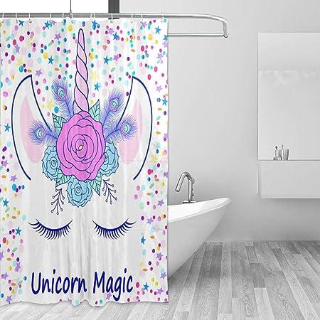 72X72/'/' Moon Stars Unicorn Shower Curtain Bathroom Waterproof Fabric /& Bath Mat