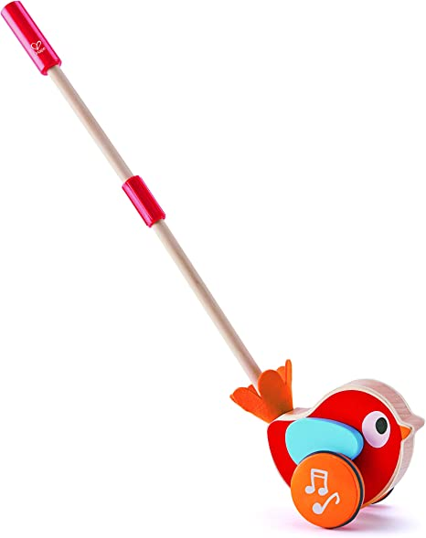 Hape Lilly Musical Push Along | Wooden Push Along Baby Walking Bird, Playful Kids Toy with Detachable Stick, Multicolor, 22.05 Inch (E0353)