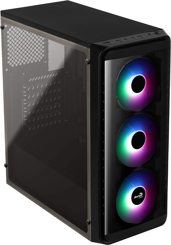 Aerocool SI5200FROST, caja PC ATX, ventana lateral, LED RGB, ventilador 12cm