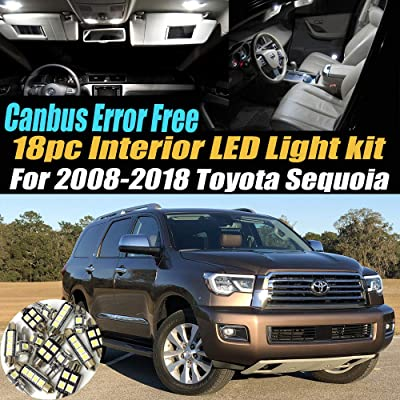 18Pc Canbus Error Free Super White 6000K Car Interior LED Light Kit Compatible for 2008-2020 Toyota Sequoia Equipped w/Advanced Computer system: Automotive