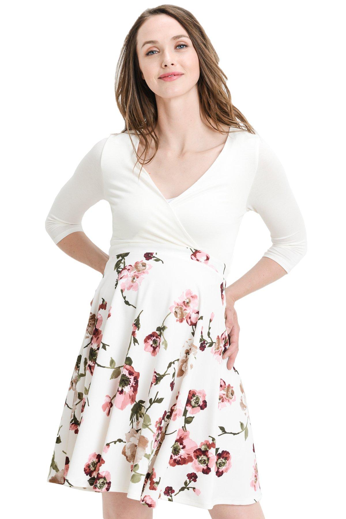 Hello MIZ Elbow Sleeve V-Neck Color Block Flower Printed Maternity Nursing Skater Dress (Medium, Ivory/Blush Floral)