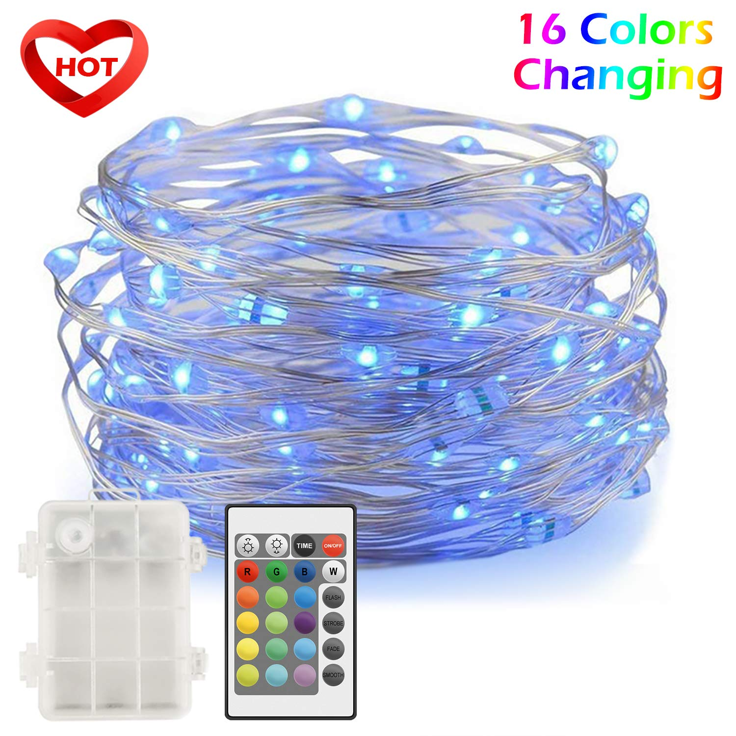 Ylife LED Fairy Lights, 16.4ft 50 LED Waterproof String Lights, Multi Colors Changing,Decorative Sliver Wire Mini Lights Battery Operated, Best for Bedroom Festival Christmas Wedding Party