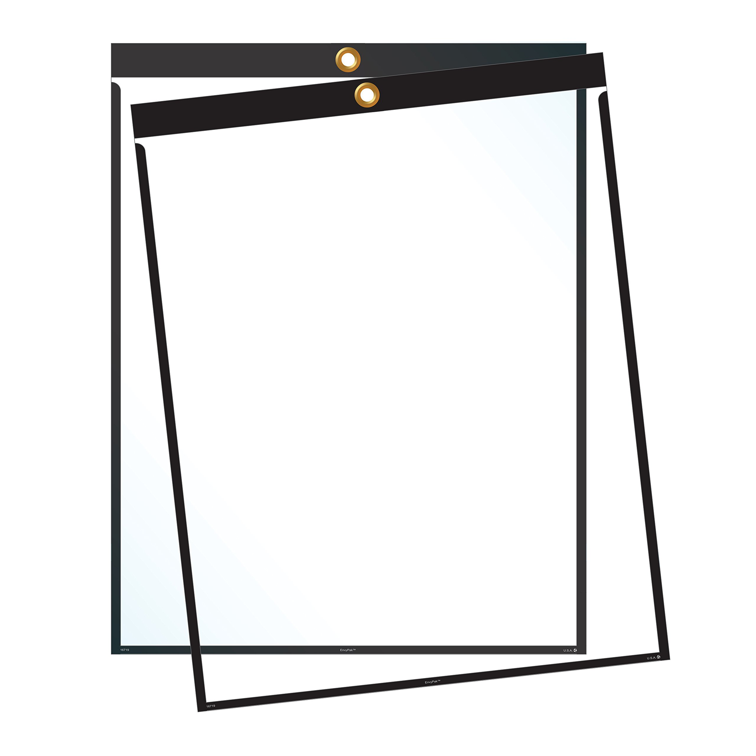 Job Ticket Holders - 9''x12'' - Pack of 30 (black) Top-loading with eyelet for hanging