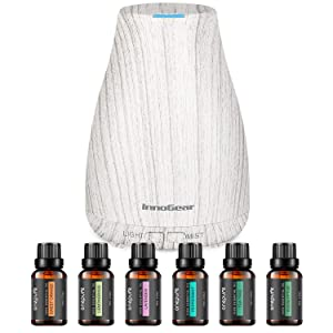 InnoGear Essential Oil Diffuser with Oils, 150ml Aromatherapy Diffuser with 6 Essential Oils Set, Aroma Cool Mist Humidifier Gift Set, Grey