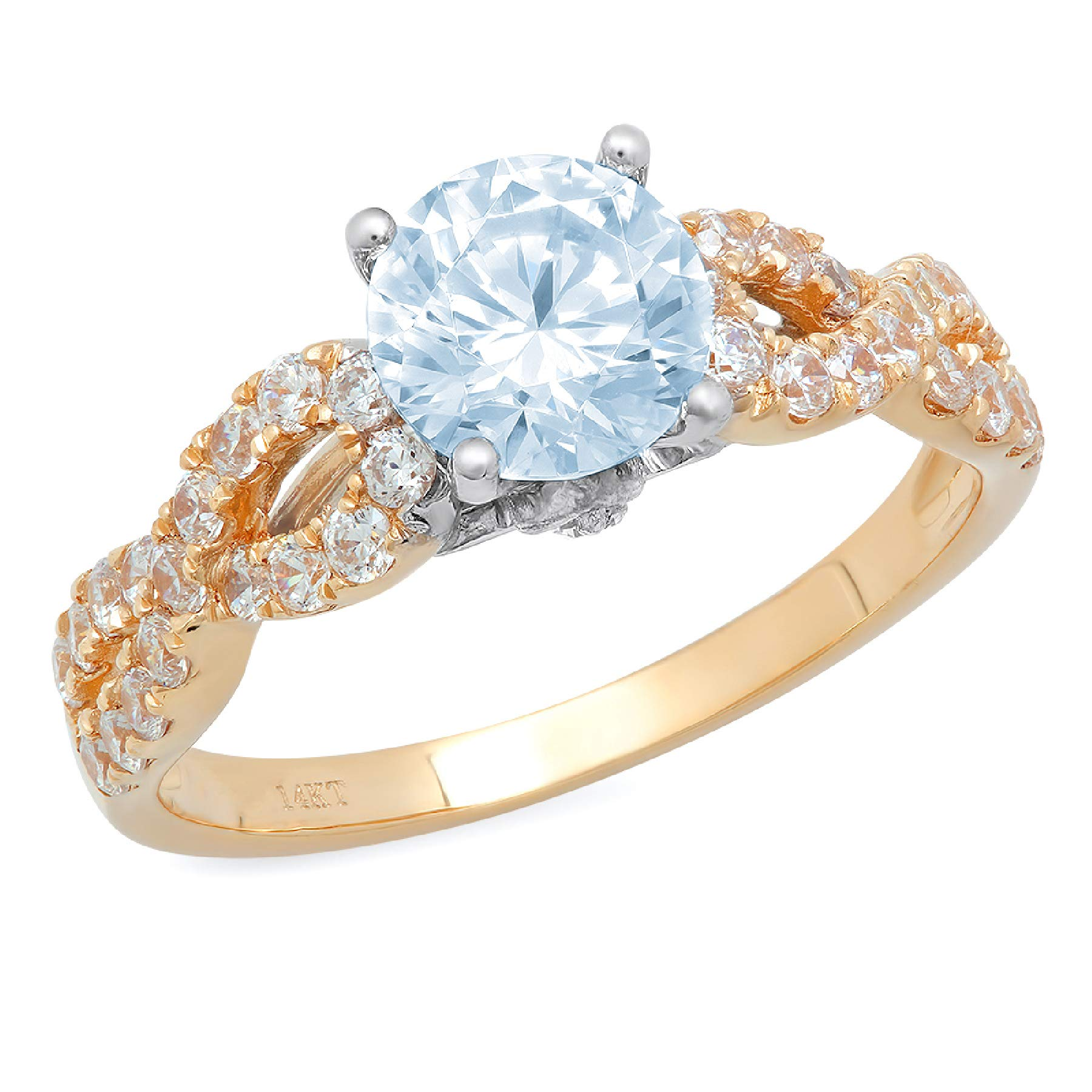 1.35 ct Brilliant Round Cut Solitaire Aquamarine Blue Simulated Diamond Ideal VVS1 Engagement Promise Statement Anniversary Bridal Wedding with accent Ring 14k 2 tone Gold Sz 11