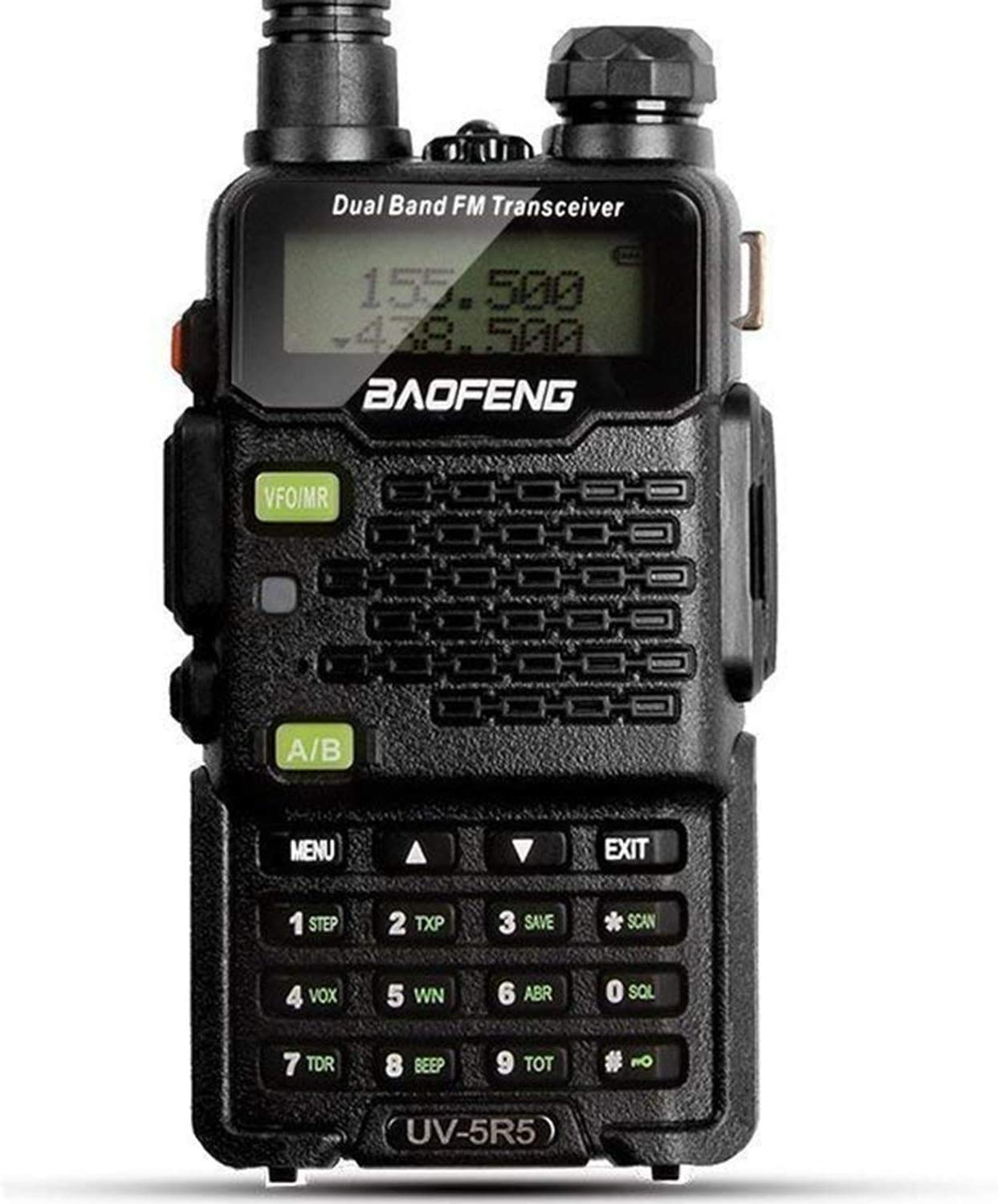 Two Way Radio, Baofeng Walkie Talkie UV-5R5 5W Dual-Band Two-Way Ham Radio Transceiver UHF/VHF 136-174/400-520MHz,65-108MHz FM with Upgraded Earpiece, Built-in VOX Function,Battery,Charger