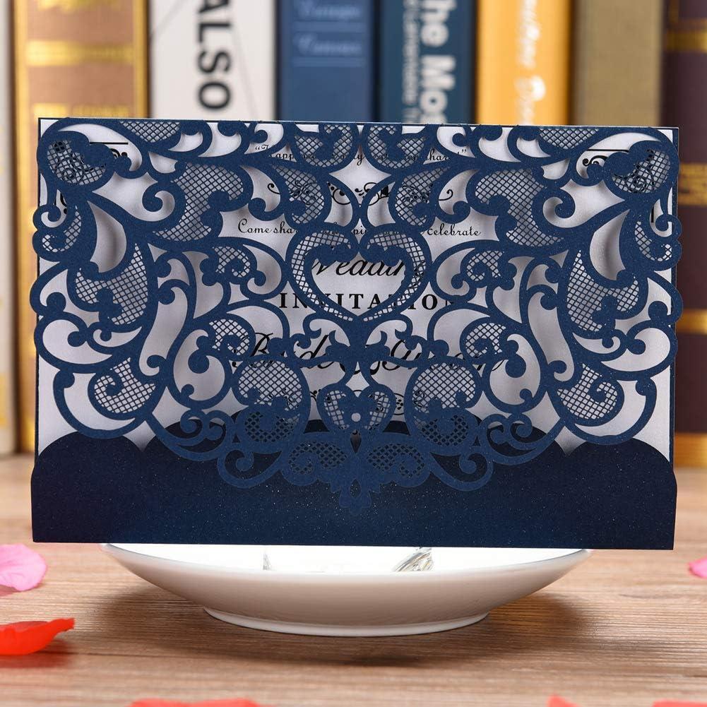 Invitación de boda Tarjeta 50unidades eleva Kit de cortado a láser invitaciones de boda con en blanco imprimible papel y sobres), color azul marino